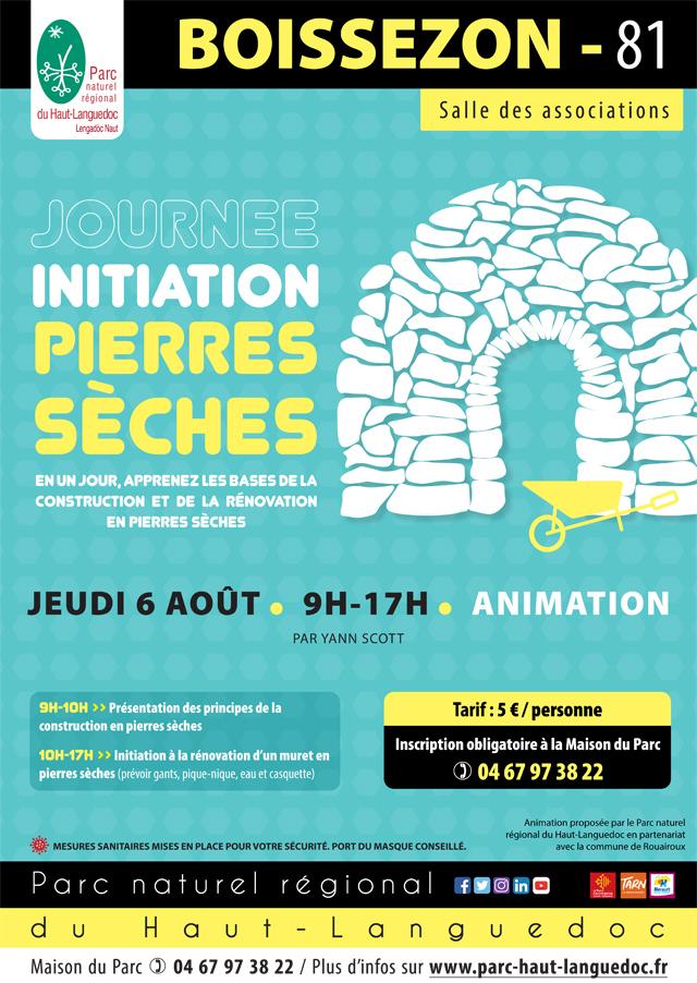 Affiche Journée Initiation pierres sèches le 6 août 2020 à Boissezon (81)