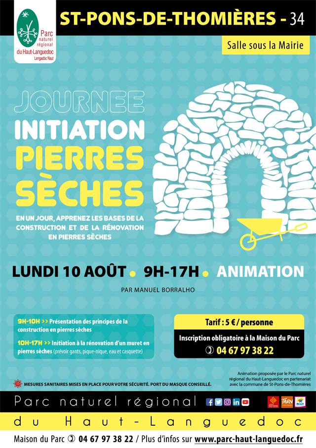 Affiche Journée Initiation pierres sèches le 10 août 2020 à Saint Pons de Thomières (34)