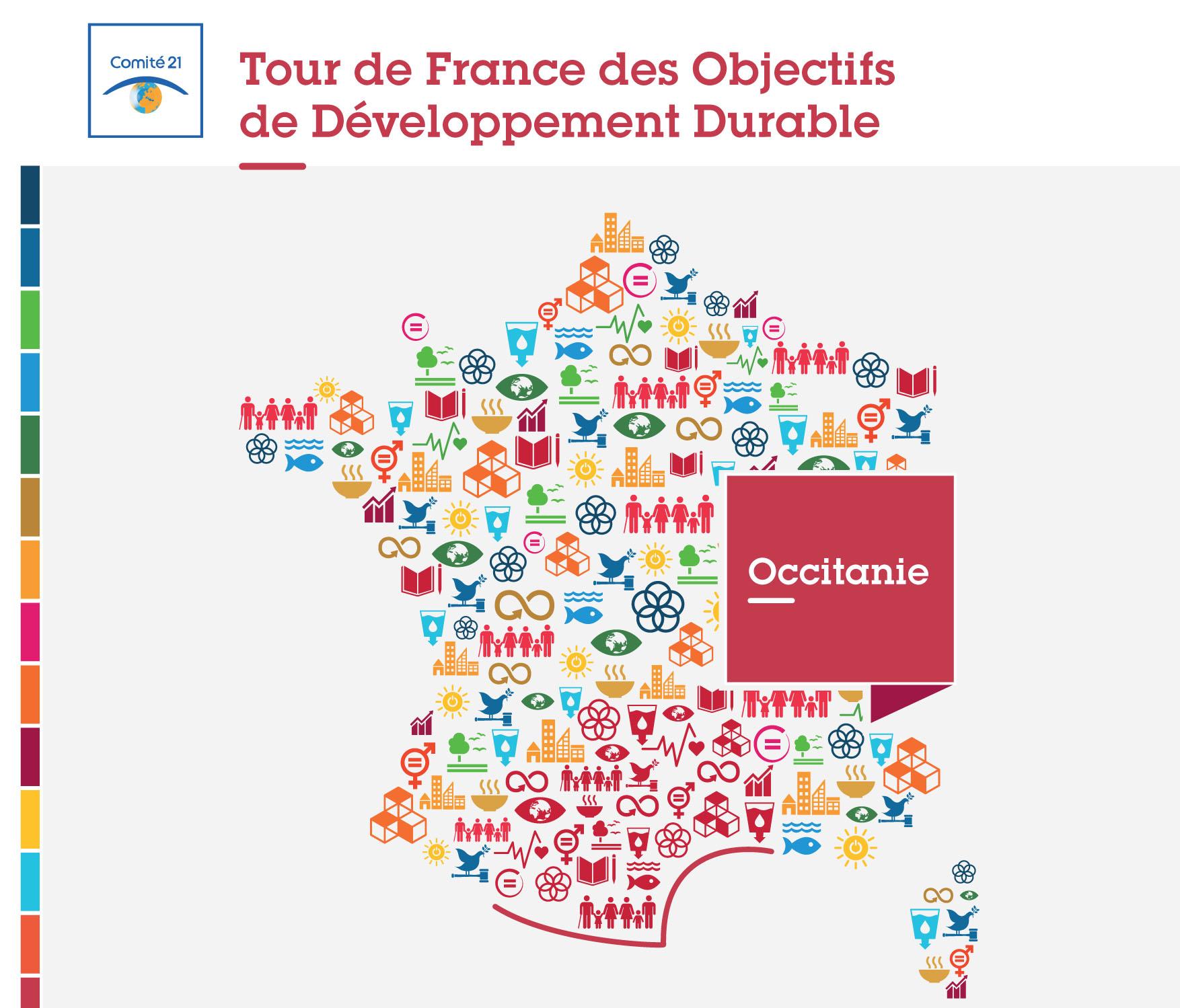 Affiche du Tour de France des Objectifs du Développement Durable Occitanie 2020
