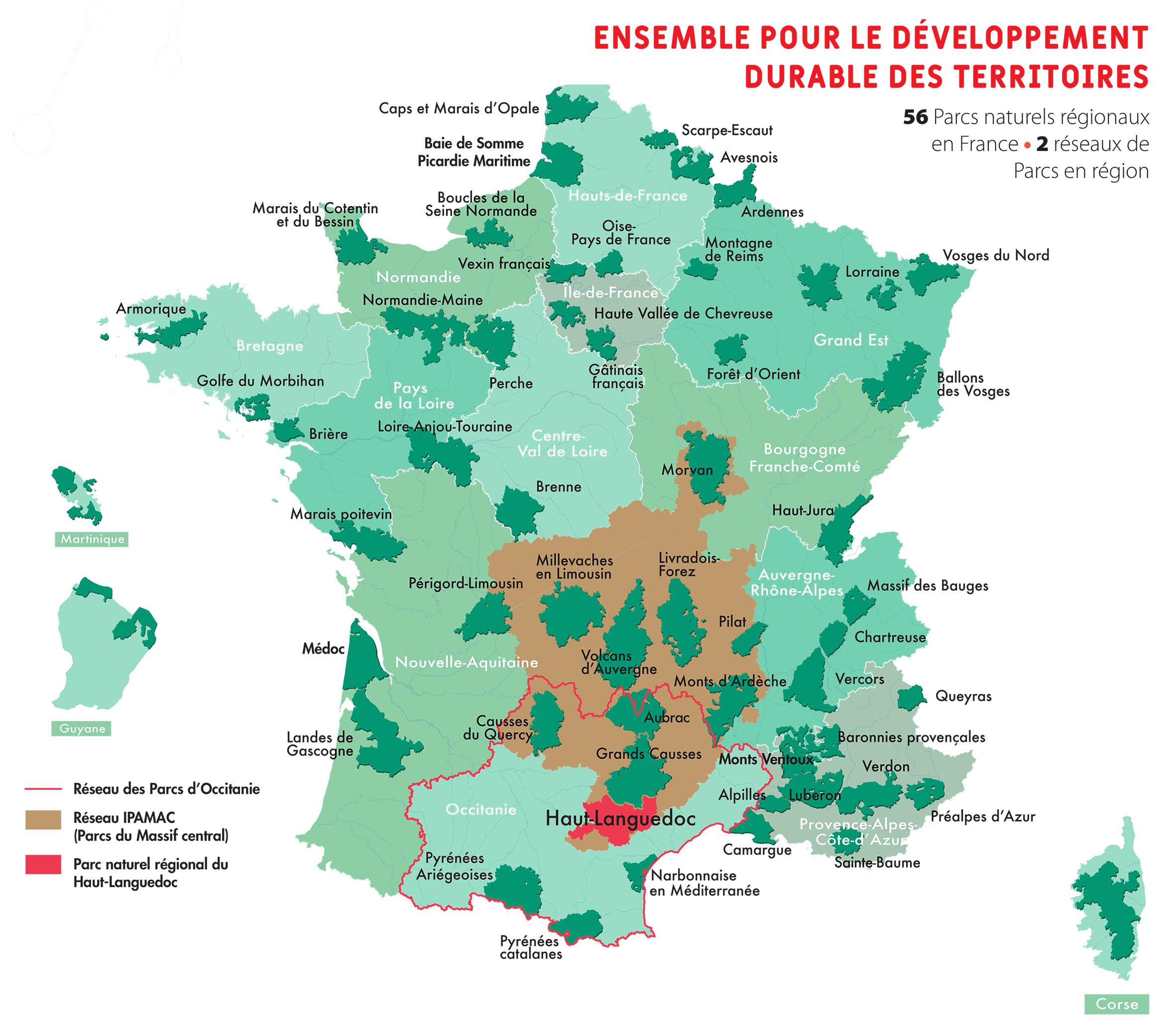 Carte des 56 Parcs naturels régionaux de France