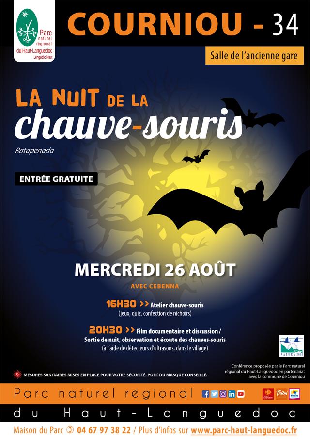 Affiche de La 24ème nuit internationale de la chauve-souris le 29 août à Lamalou les Bains (Hérault)