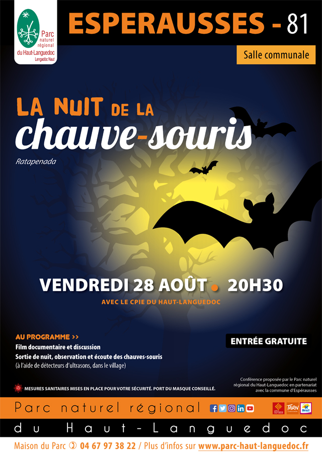 Affiche de La 24ème nuit internationale de la chauve-souris le 26 août à Espérausse (Tarn)