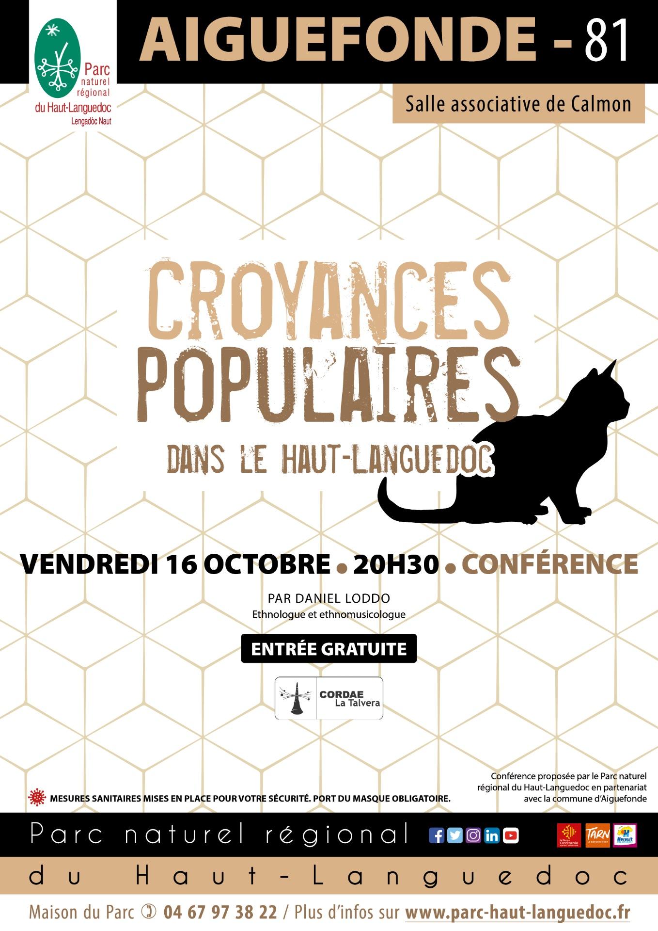 """Affiche Conférence """"Croyance populaire du Haut-Languedoc"""""""