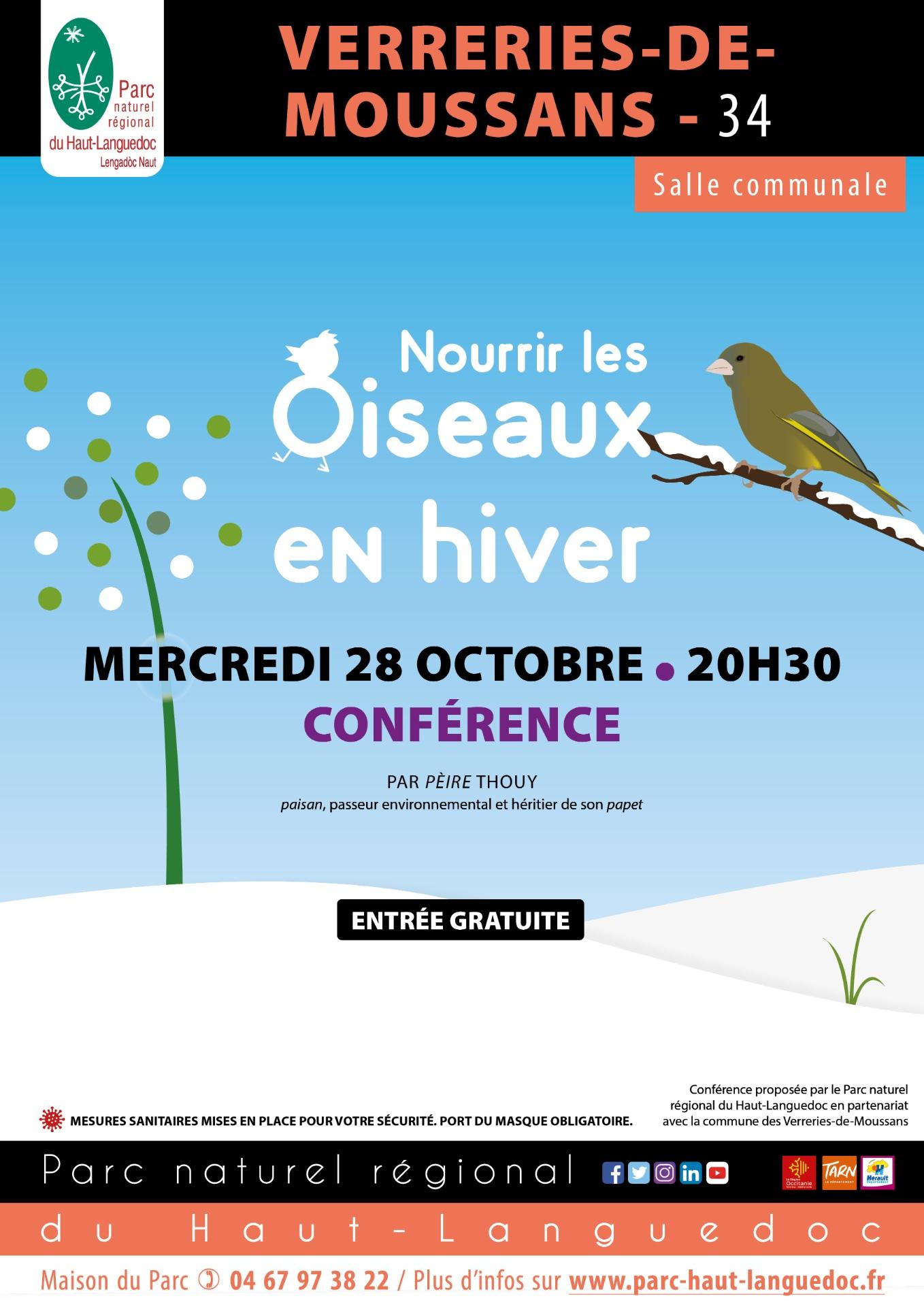 """Affiche de la conférence """"Nourrir les oiseaux en hiver"""" du Parc naturel régional du Haut-Languedoc"""