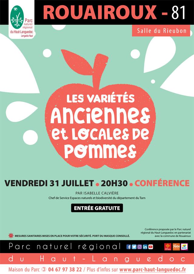 """Affiche Conférence """"Les variétés anciennes et locales de pommes"""" organisée par le Parc naturel régional du Haut-Languedoc"""