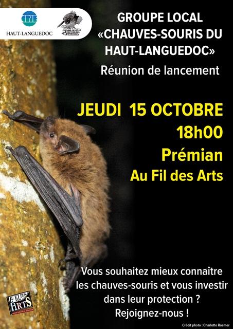 Affiche de La réunion du CPIE sur les chauves-souris du Parc naturel du Haut-Languedoc