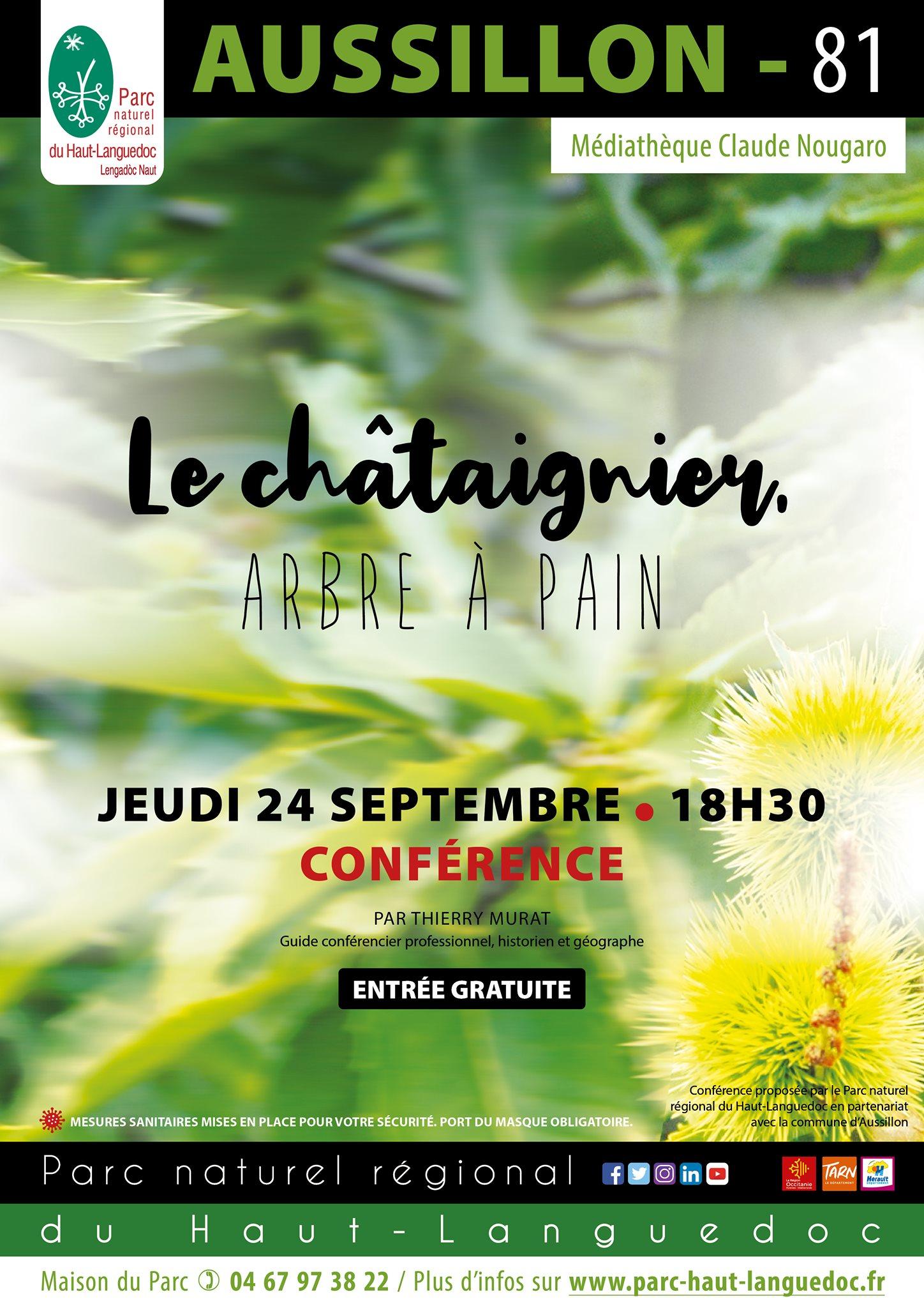 """Affiche Conférence """"Le châtaigner, arbre à pain"""" organisée par le Parc naturel régional du Haut-Languedoc"""