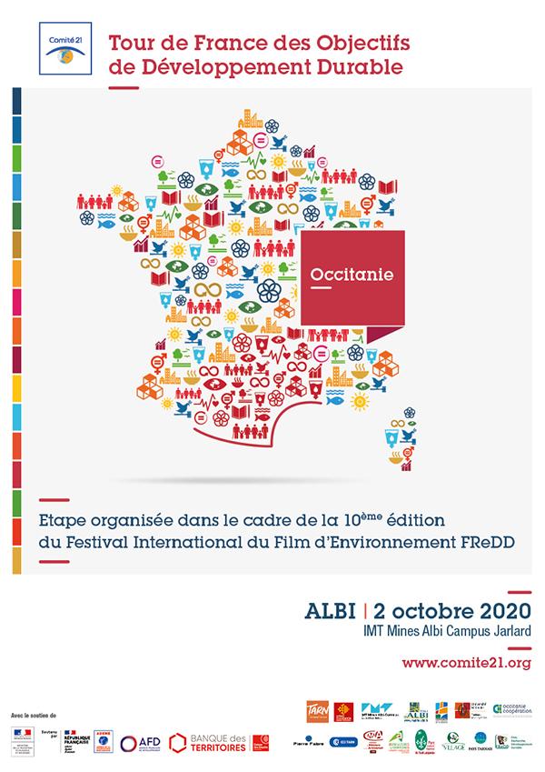 Affiche du Tour de France des ODD 2020, auquel participe le Parc naturel régional du Haut-Languedoc