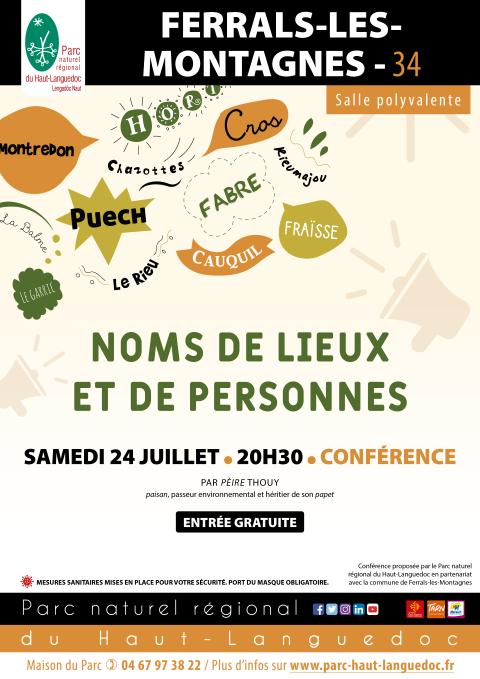 Conférence Noms de lieux et de personnes