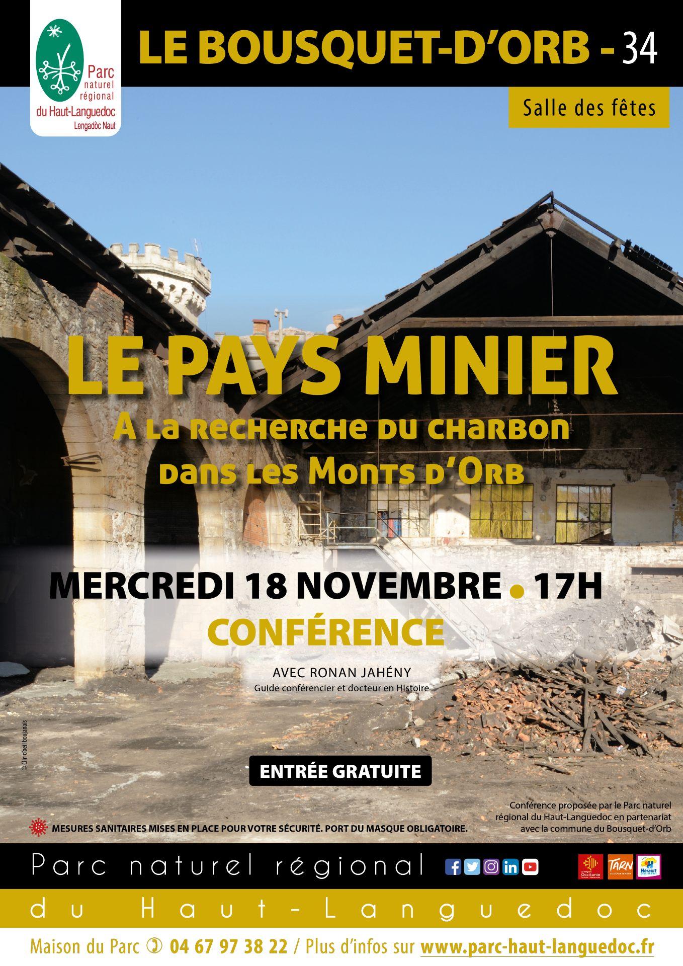 """Affiche Conférence """"pays minier du Haut-Languedoc – à la recherche du charbon dans les Monts d'Orb"""" organisée par le Parc naturel régional du Haut-Languedoc"""