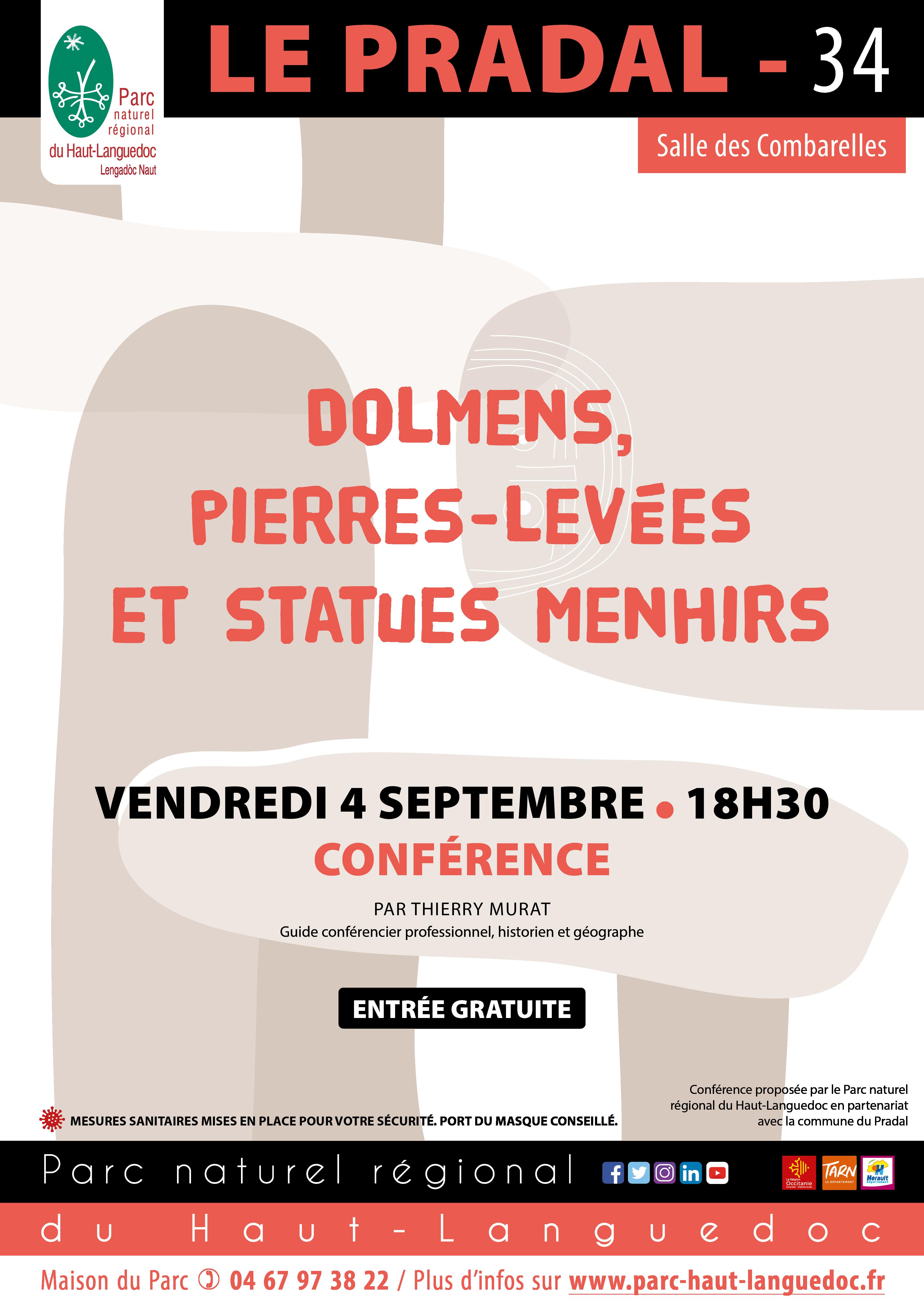 """Affiche Conférence """"Dolmens, pierres-levées et statues-menhirs du Haut-Languedoc"""""""
