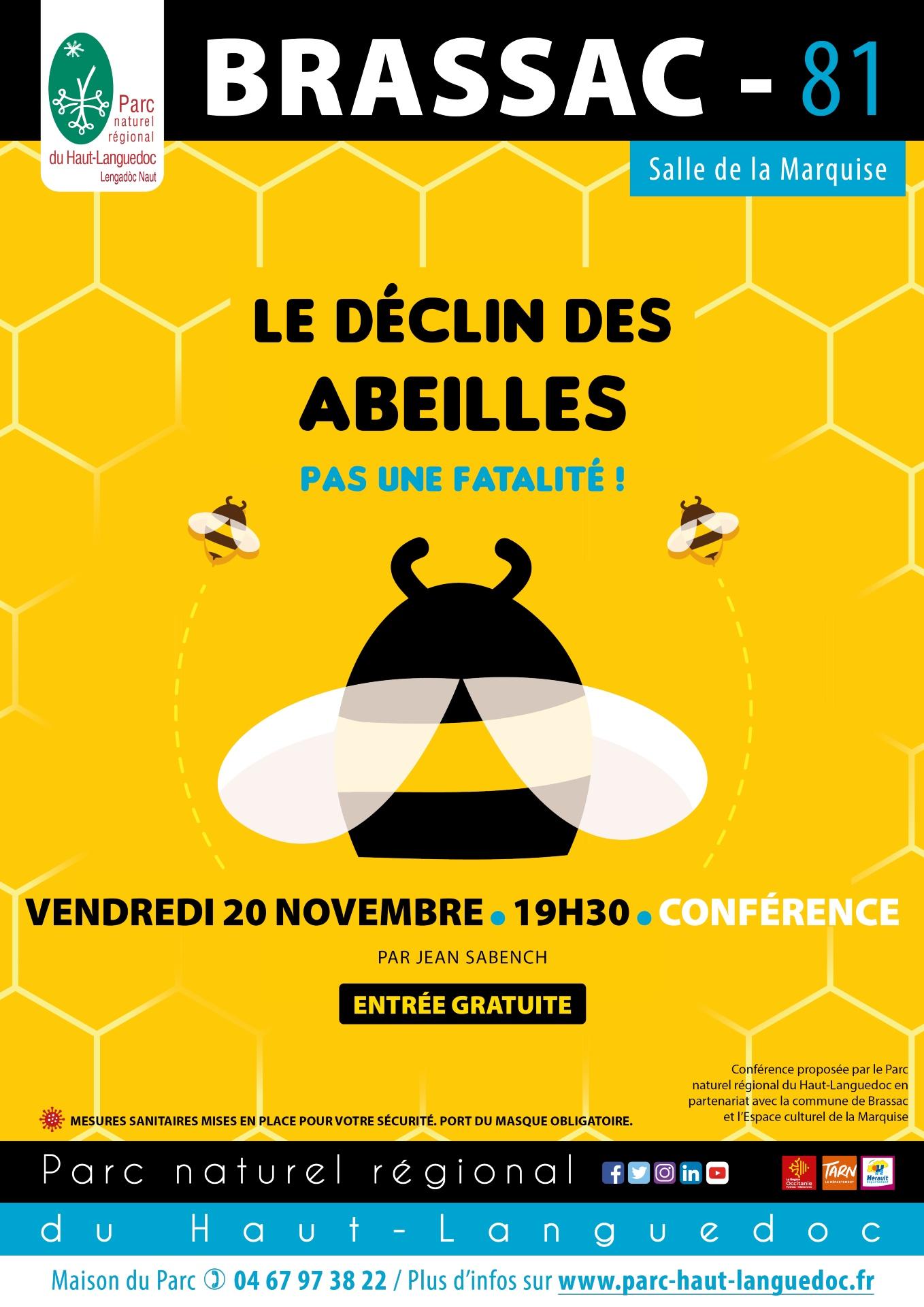 Affiche Conférence Le déclin des abeilles Brassac 81