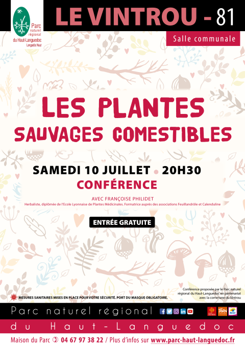 """Affiche Conférence """"Ces_plantes_sauvages_comestibles"""" organisée par le Parc naturel régional du Haut-Languedoc"""